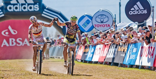 110329_RSA_CapeTown_CapeEpic_Stage2_Tulbagh-Tulbagh_Kaess_Genze_finishing_acrossthecountry_mountainbike_xcm_by_Kuestenbrueck