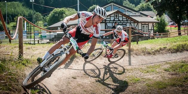 130707_GER_Saalhausen_XC_U23m_Schelb_Pfaeffle_corner_acrossthecountry_mountainbike_by_Moeller