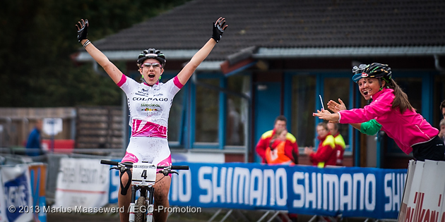 130914_NOR_Hafjell_XC_U23w_JuniorsW_Waldis_finish_acrossthecountry_mountainbike_by_Maasewerd
