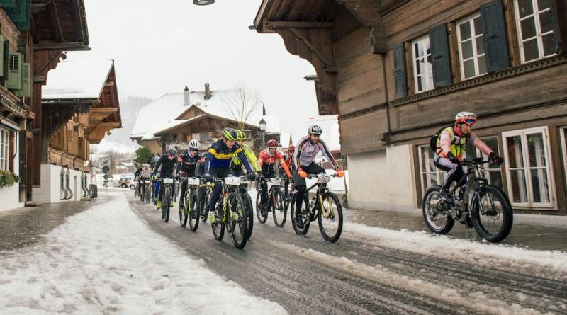 Start zur ersten Etappe des SnowBike-Festivals in Gstaad ©SnowBike-Festival